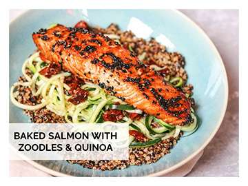baked salmon with noodles and quinoa